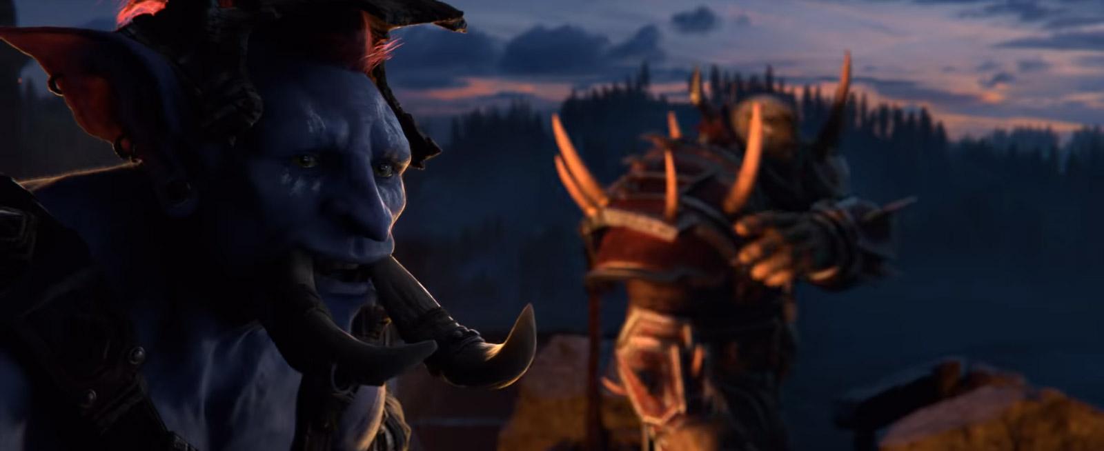 Un jeune Troll interpelle Saurcroc au sommet des remparts de Lordaeron