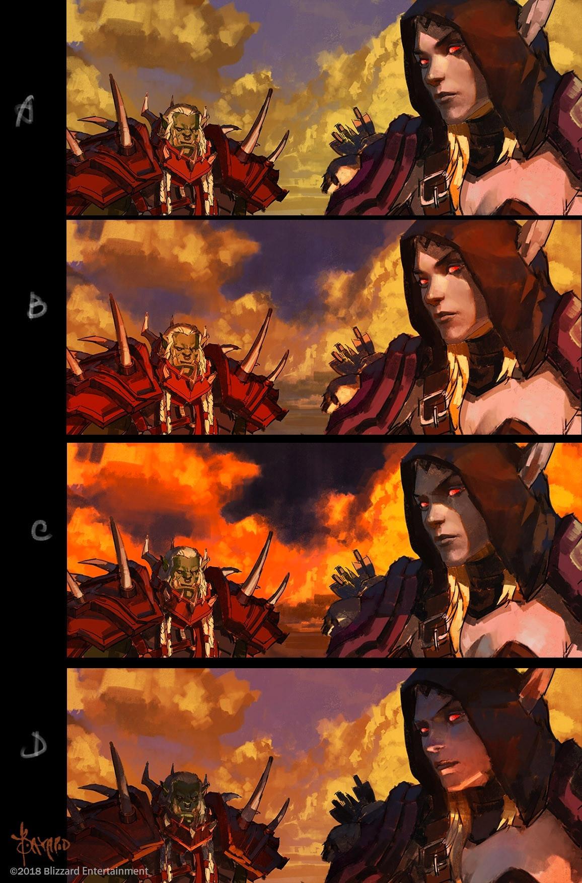Saurcroc confronte Sylvanas lors de l'incendie de Teldrassil
