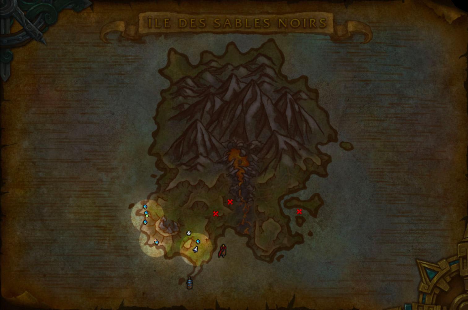 Le brouillard de guerre masque une grande partie de la carte de l'île