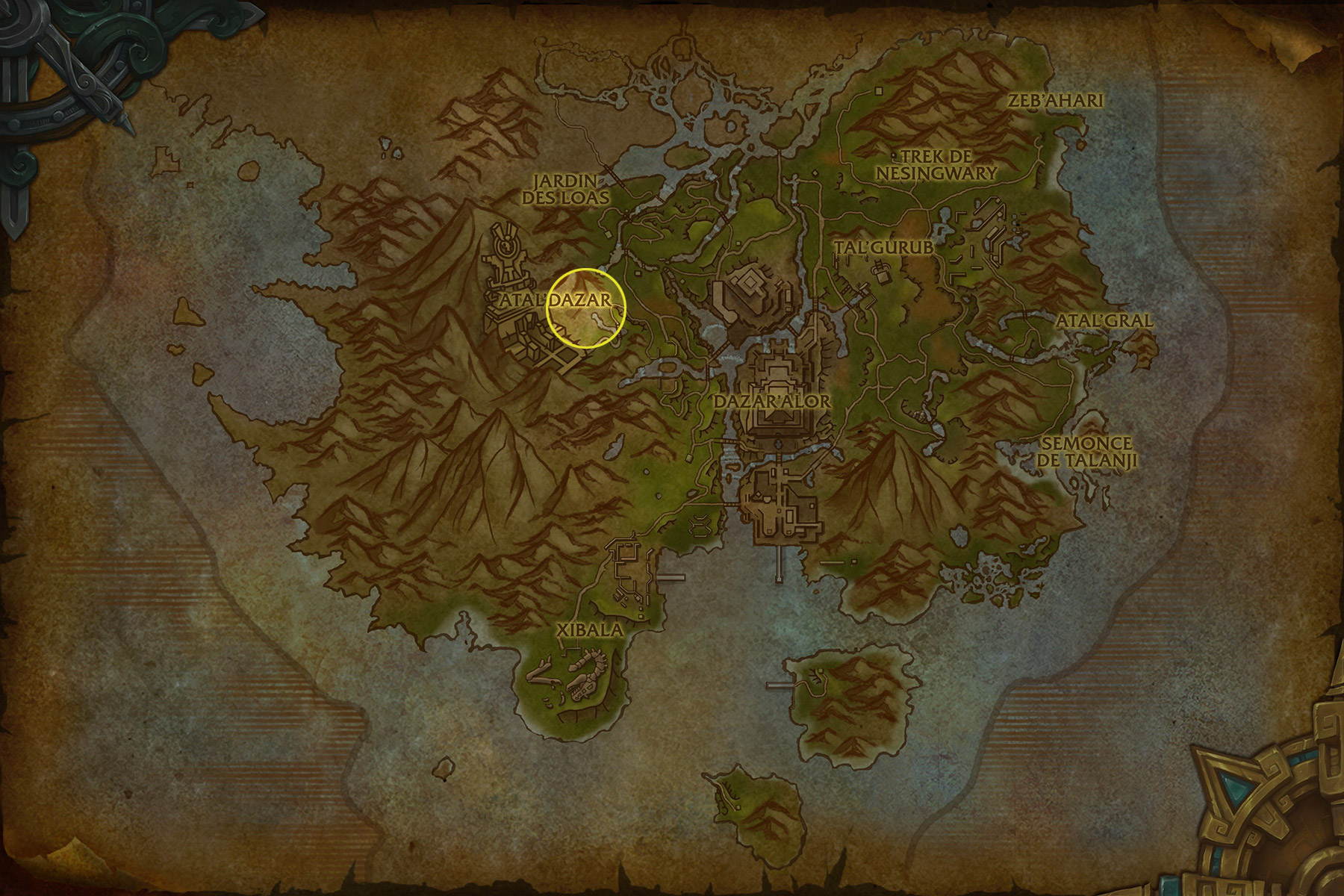 Point de départ à Zuldazar