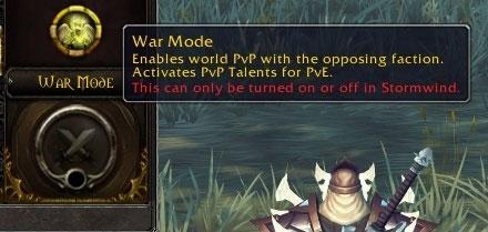 Passer en mode guerre active vos talents PVP même en PVE