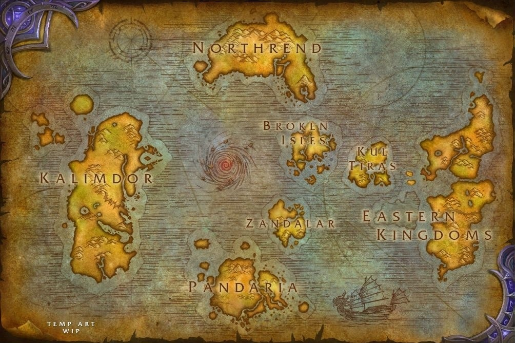 Kul Tiras et Zandalar figurent sur la carte du monde de l'alpha de Battle for Azeroth