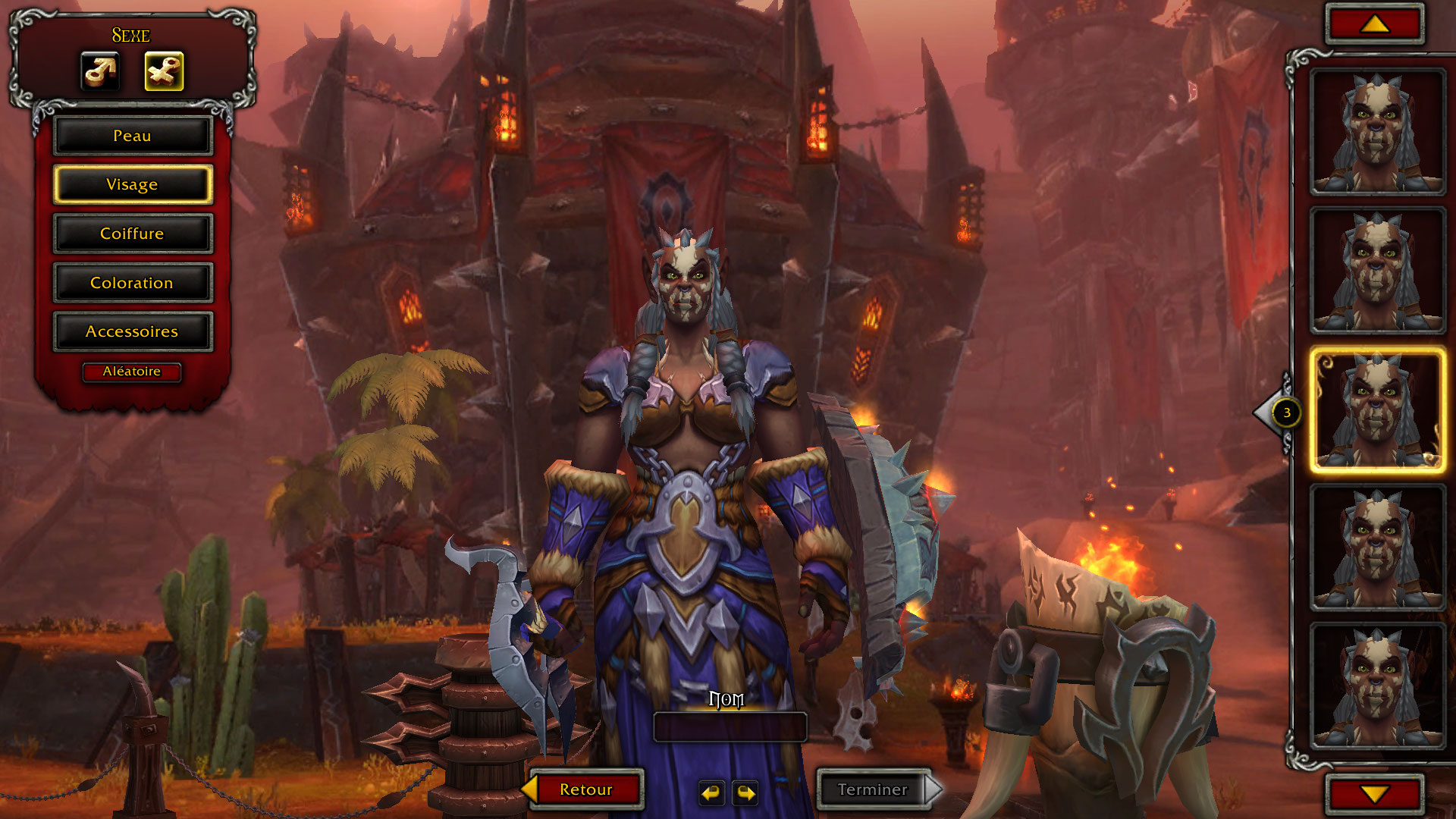 Écran de création : Orque Mag'har - Battle for Azeroth Alpha