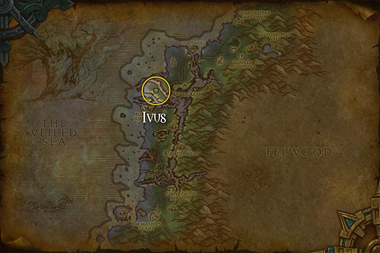 Ivus se situe au nord des ruines d'Auberdine à Sombrivage