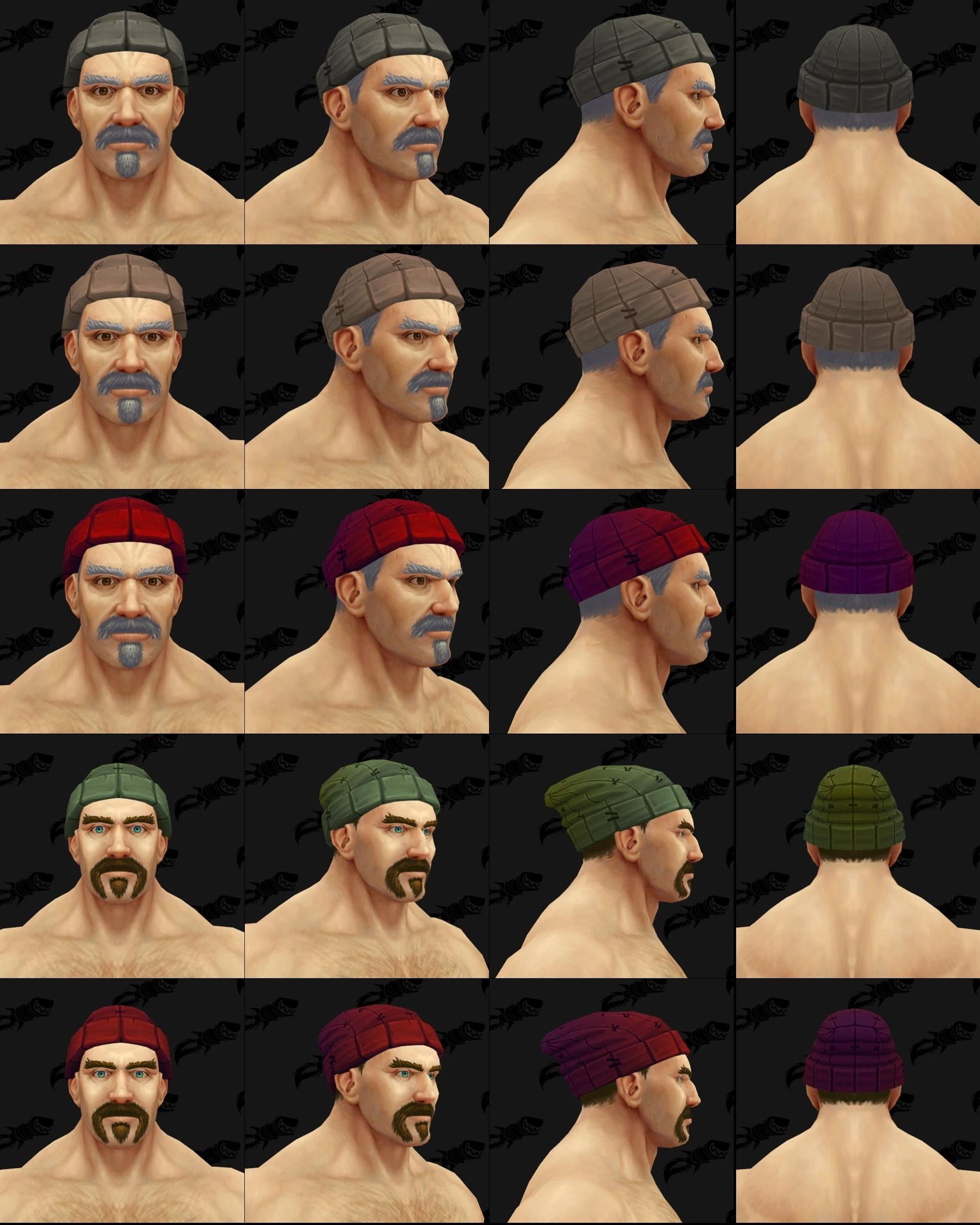 Différents coloris d'un modèle de couvre-tête Kul Tiras