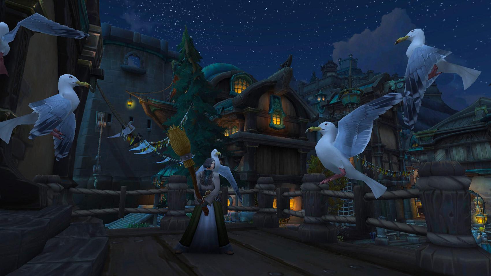 Une habitante de Boralus chasse les mouettes