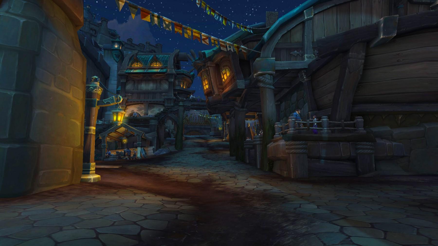 Les rues de Boralus à la tombée de la nuit