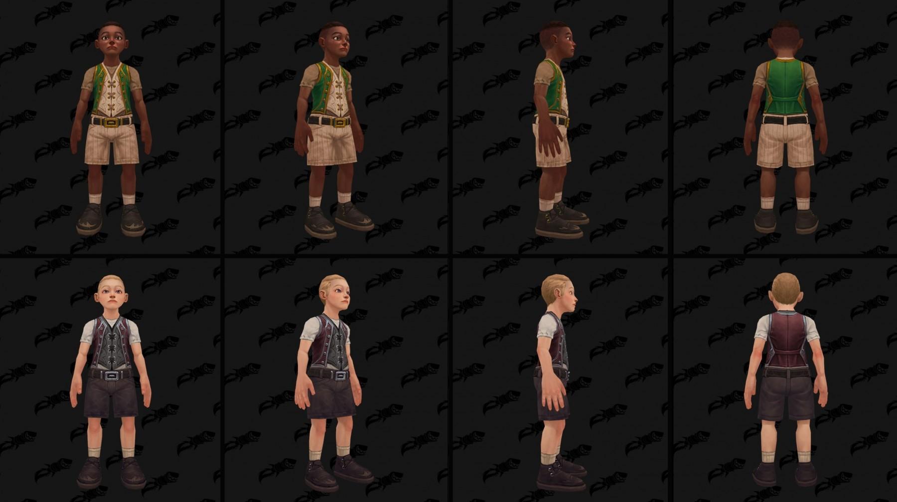 Refonte du modèle pour l'enfant humain (garçon) à Battle for Azeroth