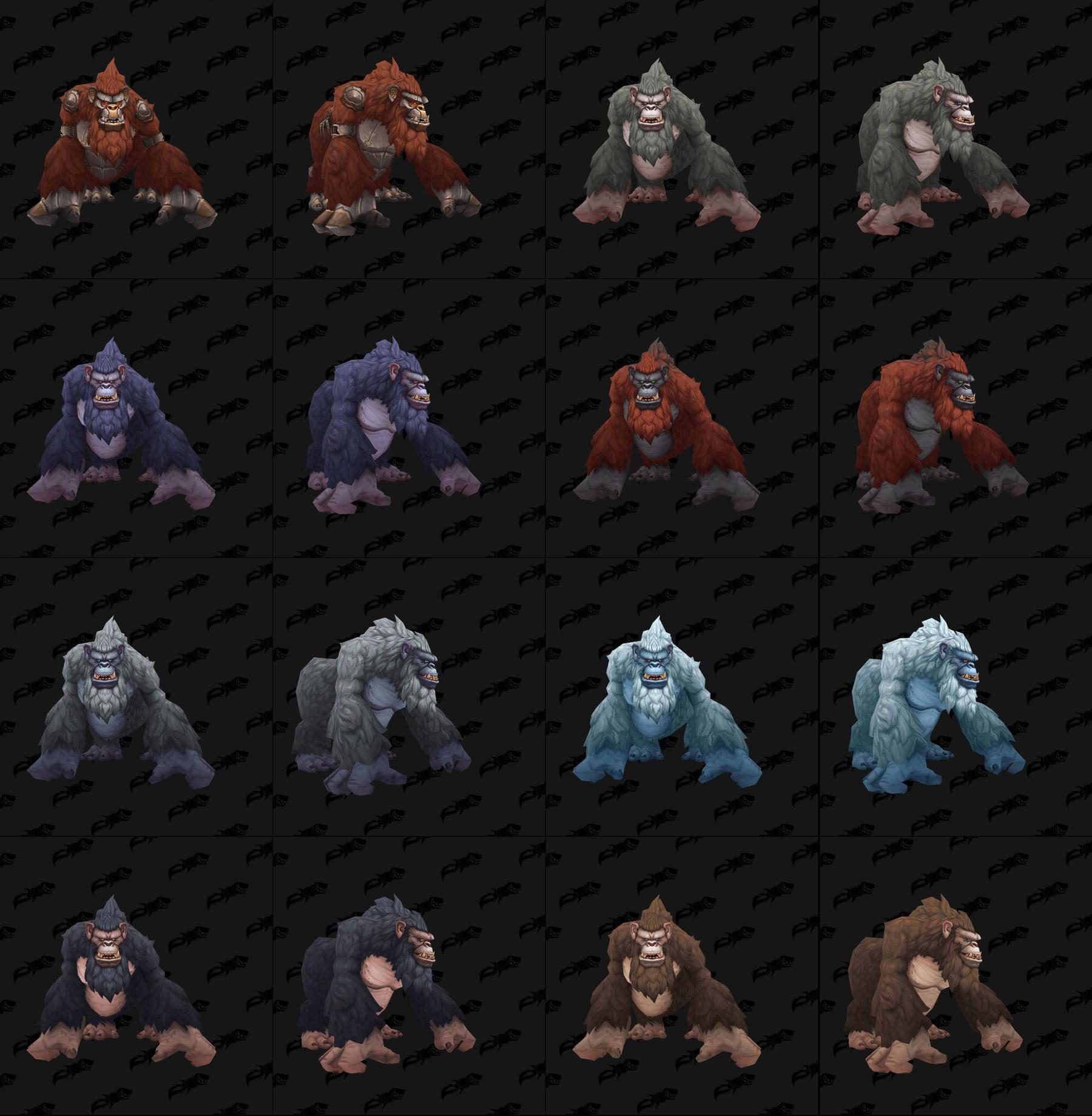 Les différents coloris des modèles de gorilles - Battle for Azeroth