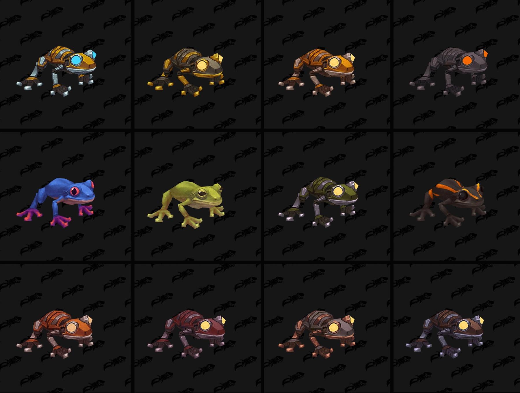 Les différents coloris des modèles de grenouilles - Battle for Azeroth