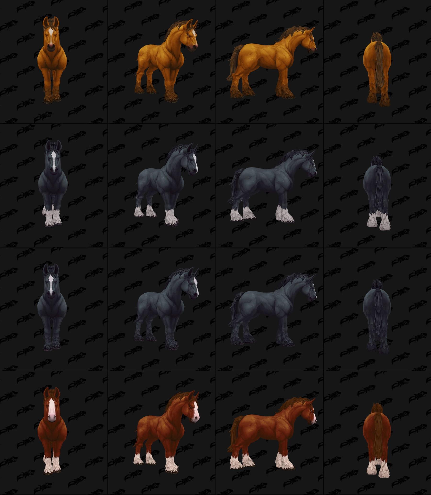 Les différents coloris des modèles de chevaux- Battle for Azeroth
