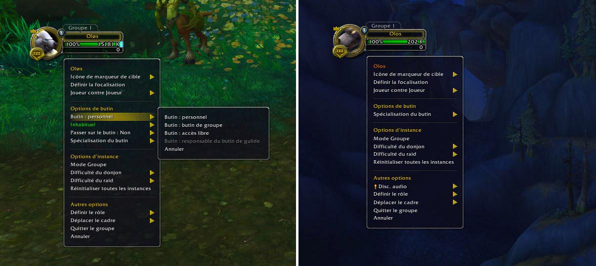 À gauche, les options de butin au patch 7.3.5, à droite, celles du patch 8.0