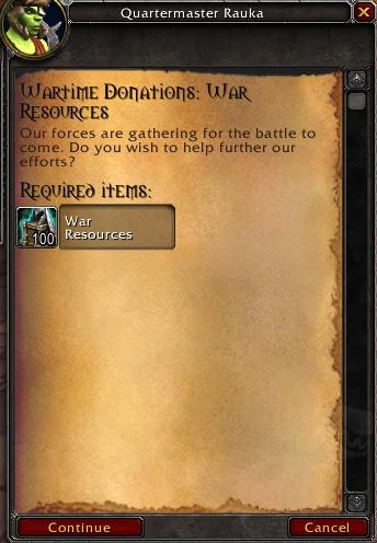 Contribution front de guerre Horde