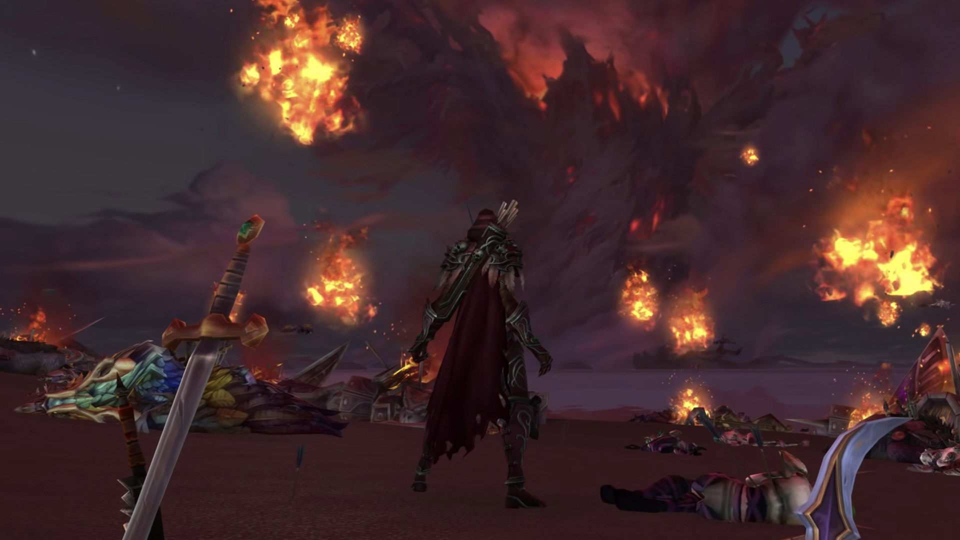 Sylvanas devant Teldrassil en train de brûler