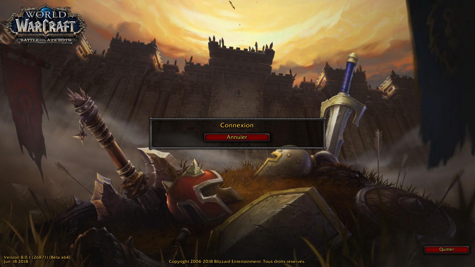 Écran de connexion Battle for Azeroth
