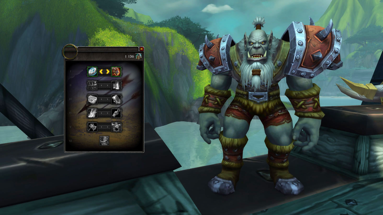 Interface de la recherche d'améliorations côté Horde dans Battle for Azeroth