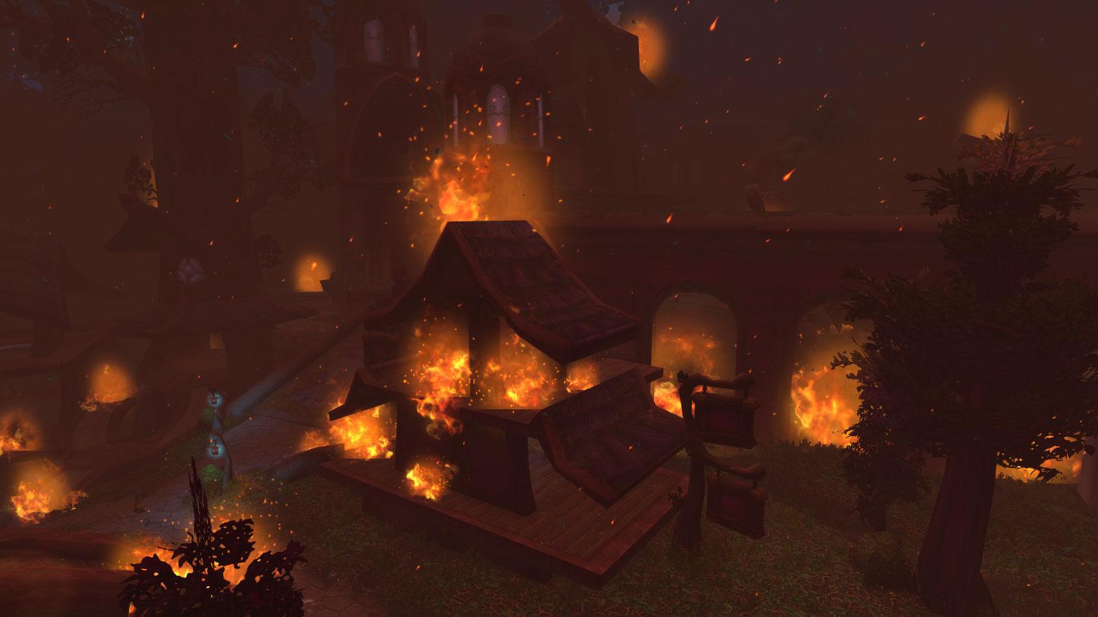 La ville de Darnassus incendiée par la Horde