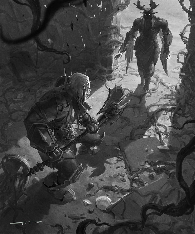 Saurcroc et Malfurion en combat singulier lors de la bataille d'Astranaar