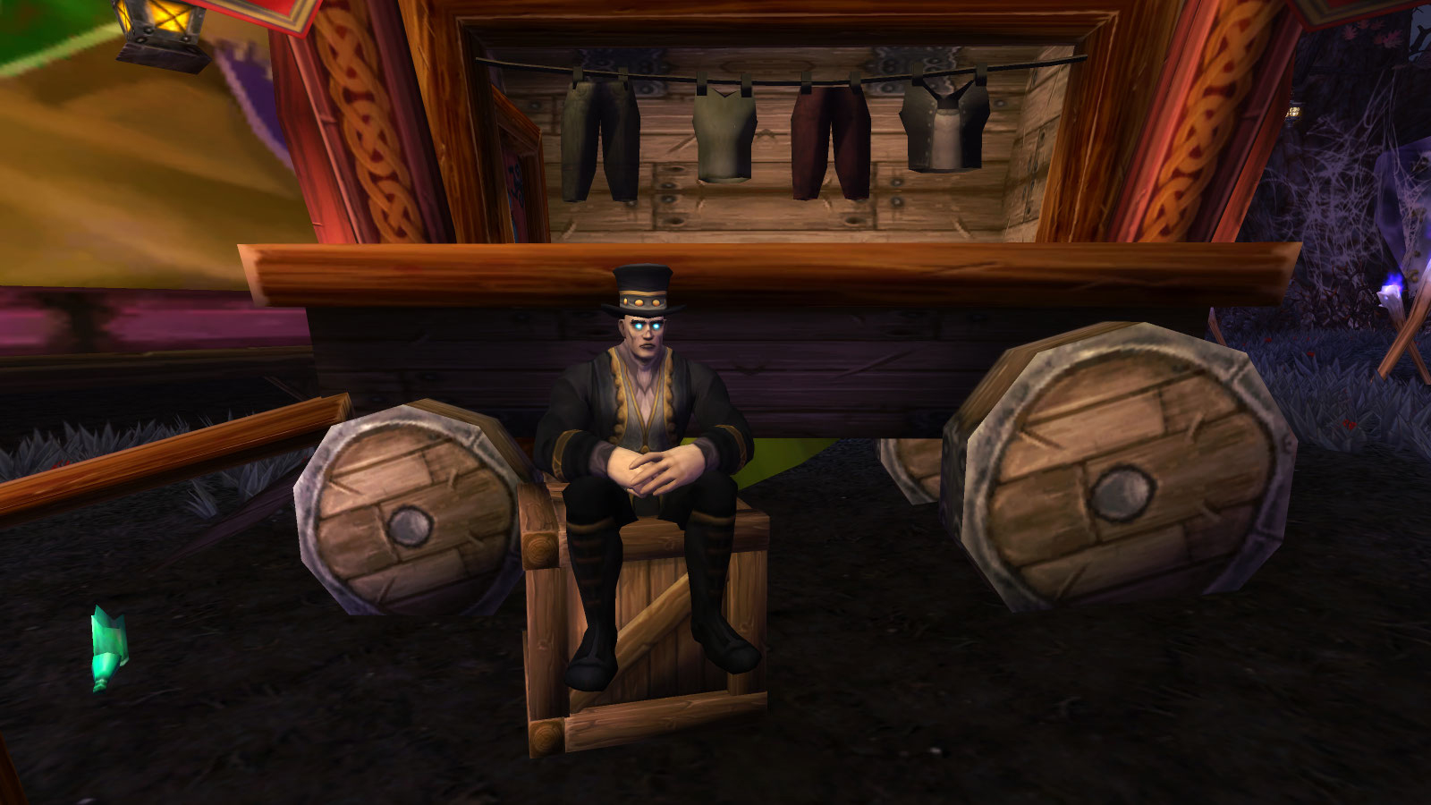 Chester le vendeurs de curiosités et d'habits à la Foire de Sombrelune