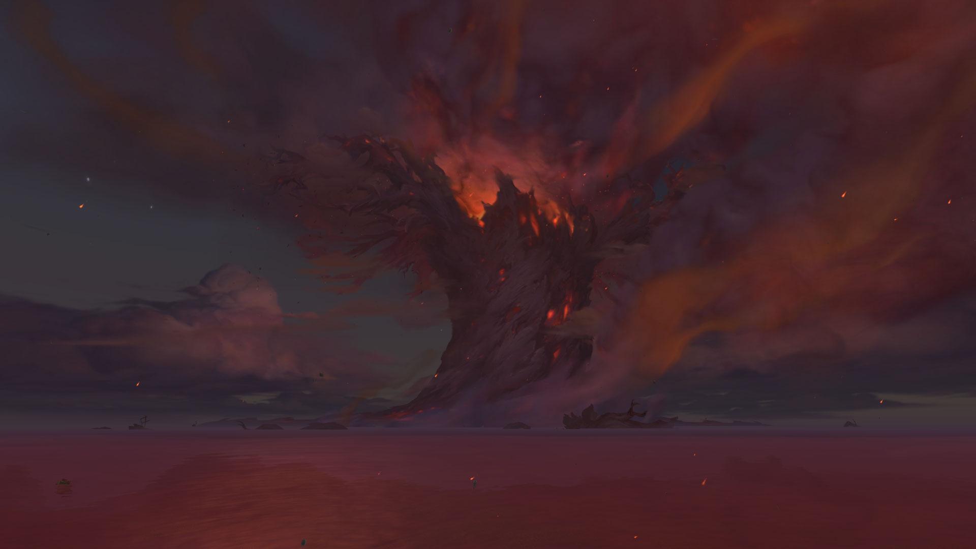 L'Arbre-monde Teldrassil incendié