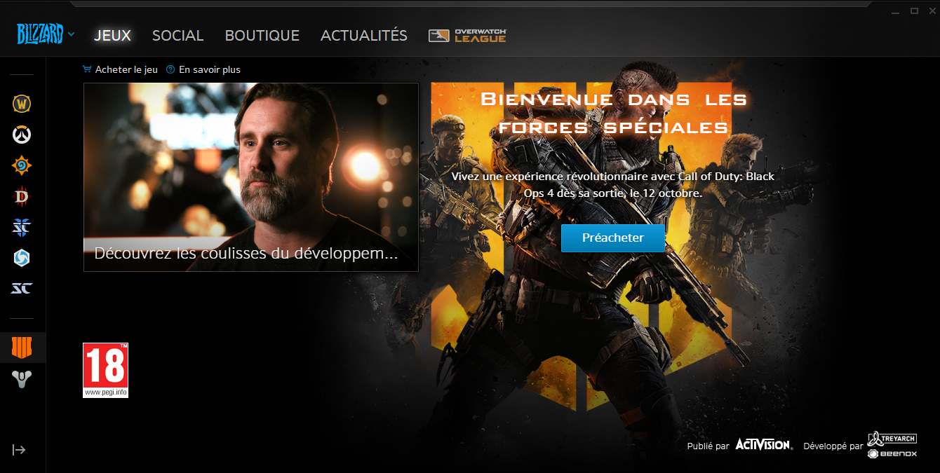 Call of Duty Black Ops 4 disponible au préachat via le launcher Battle.net