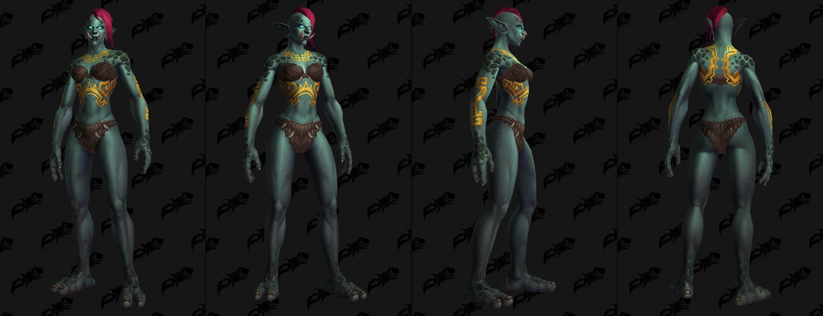 Tatouages Troll zandalari sur le torse, le dos et les cotes et bras (femme)