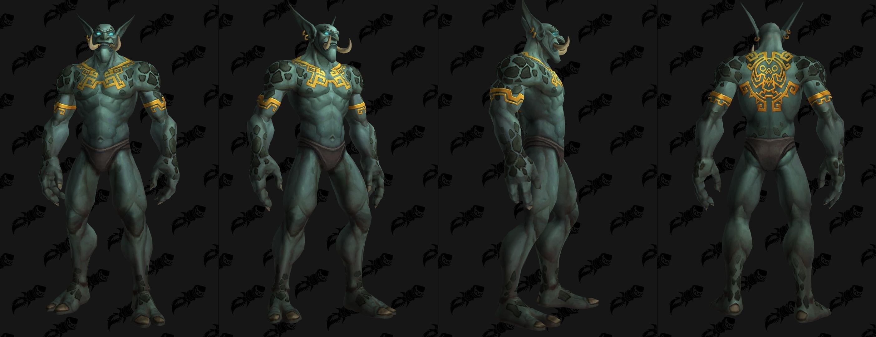 Tatouages Troll zandalari sur le torse et le dos (homme)