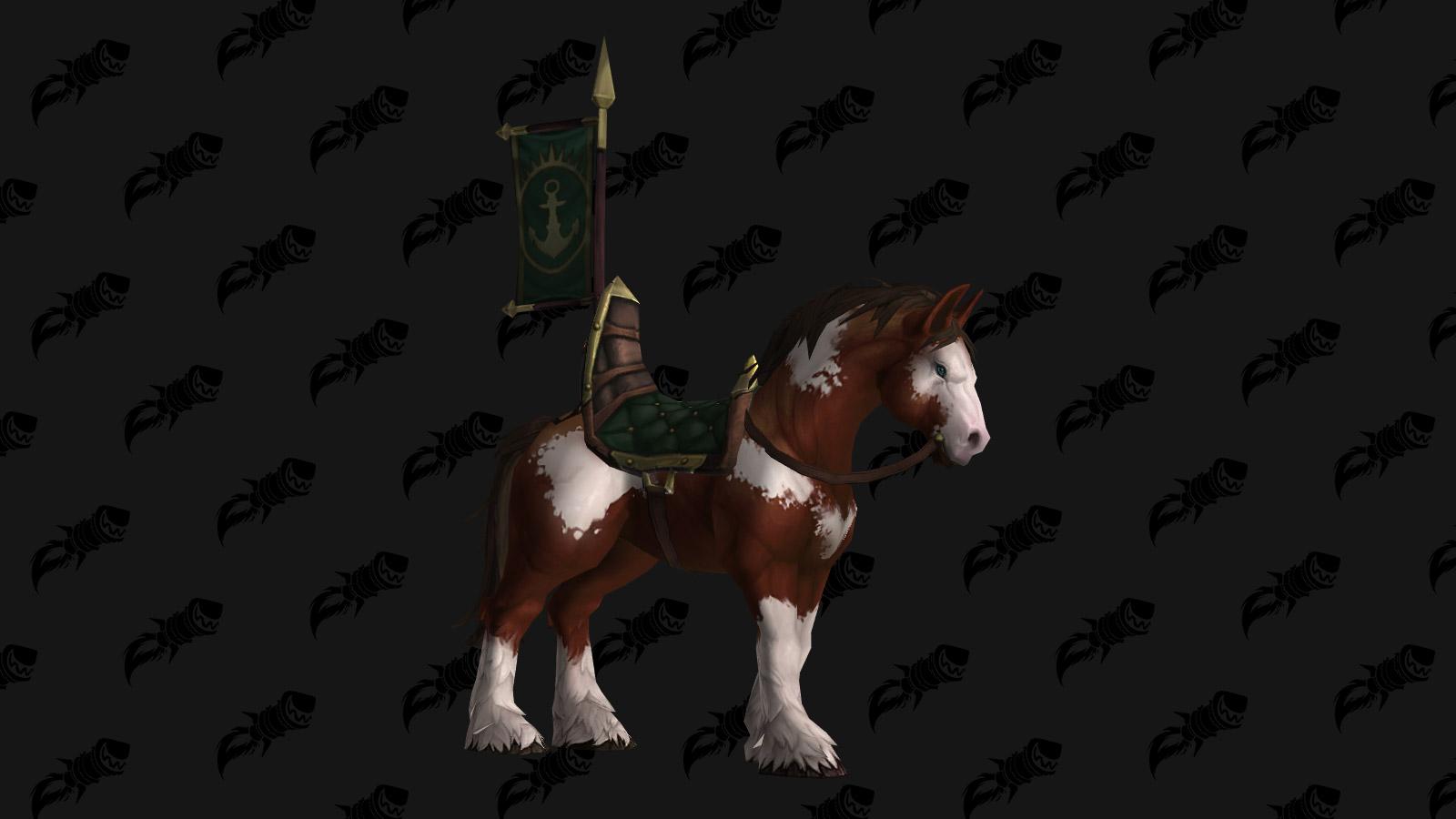Le Cheval des Portvaillant porte l'emblème de Kul Tiras dans Battle for Azeroth