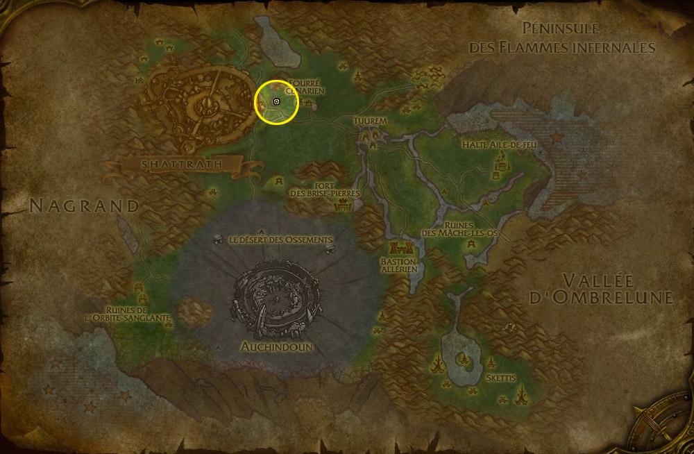 Cimetière Pandaren - Situé dans la Forêt de Terrokar en Outreterre