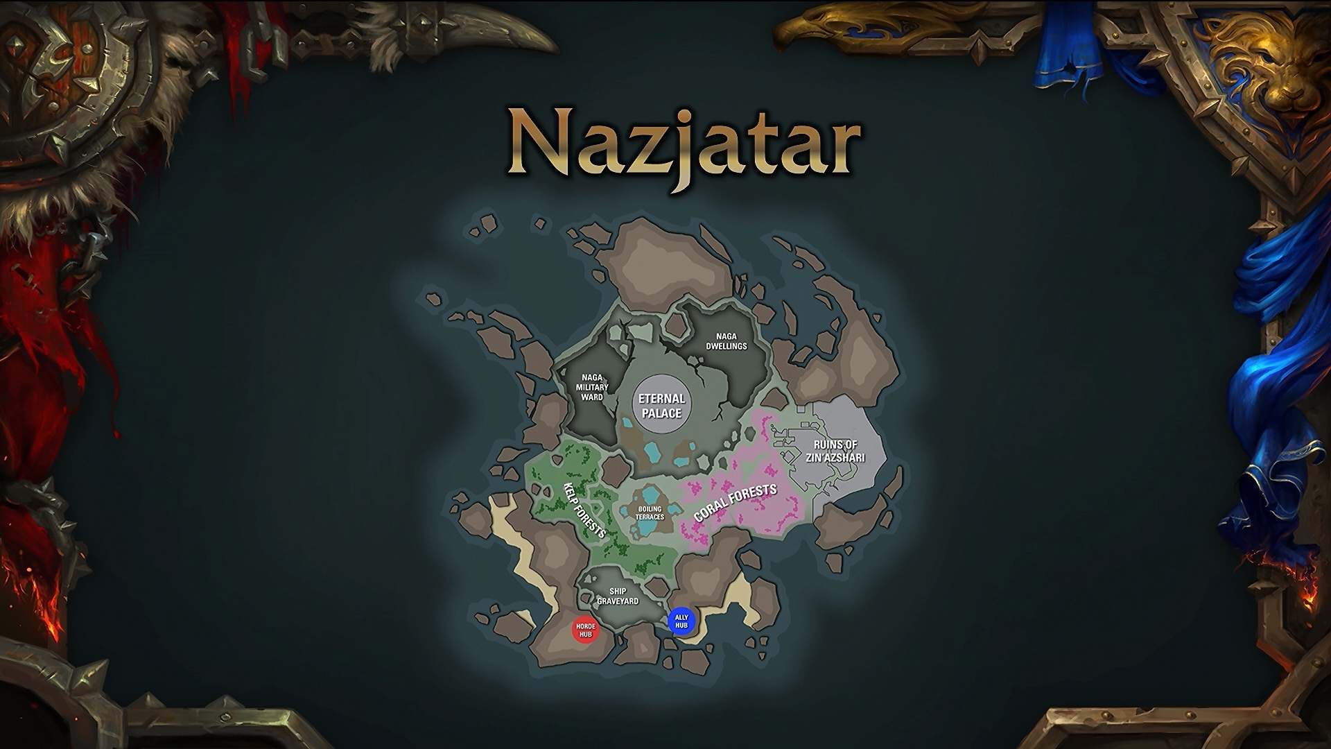 Carte de Nazjatar, nouvelle zone du patch 8.2