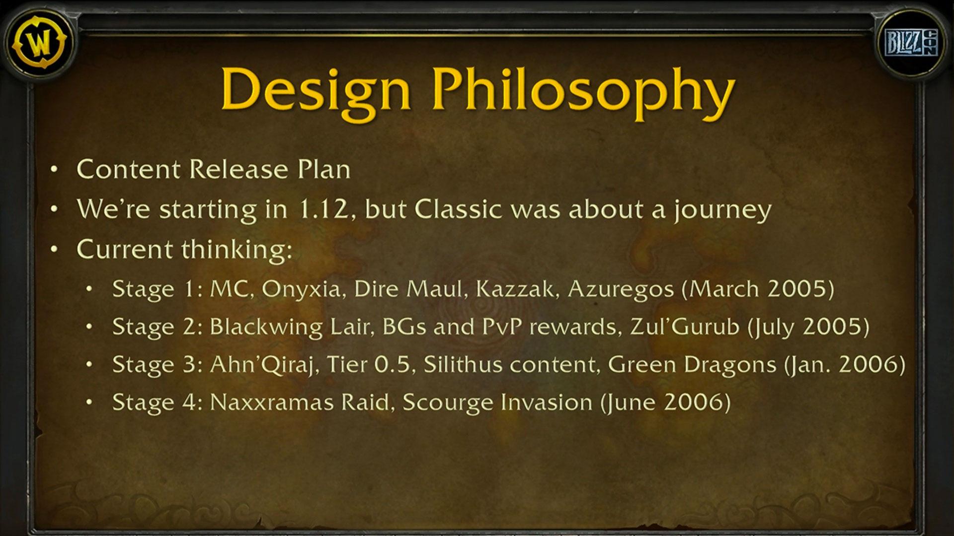 Le contenu de WoW Classic sera déployé en plusieurs étapes