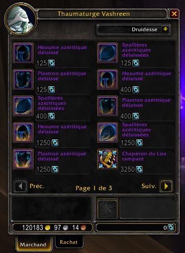 Au patch 8.1, il est possible d'acheter des armures d'azérite