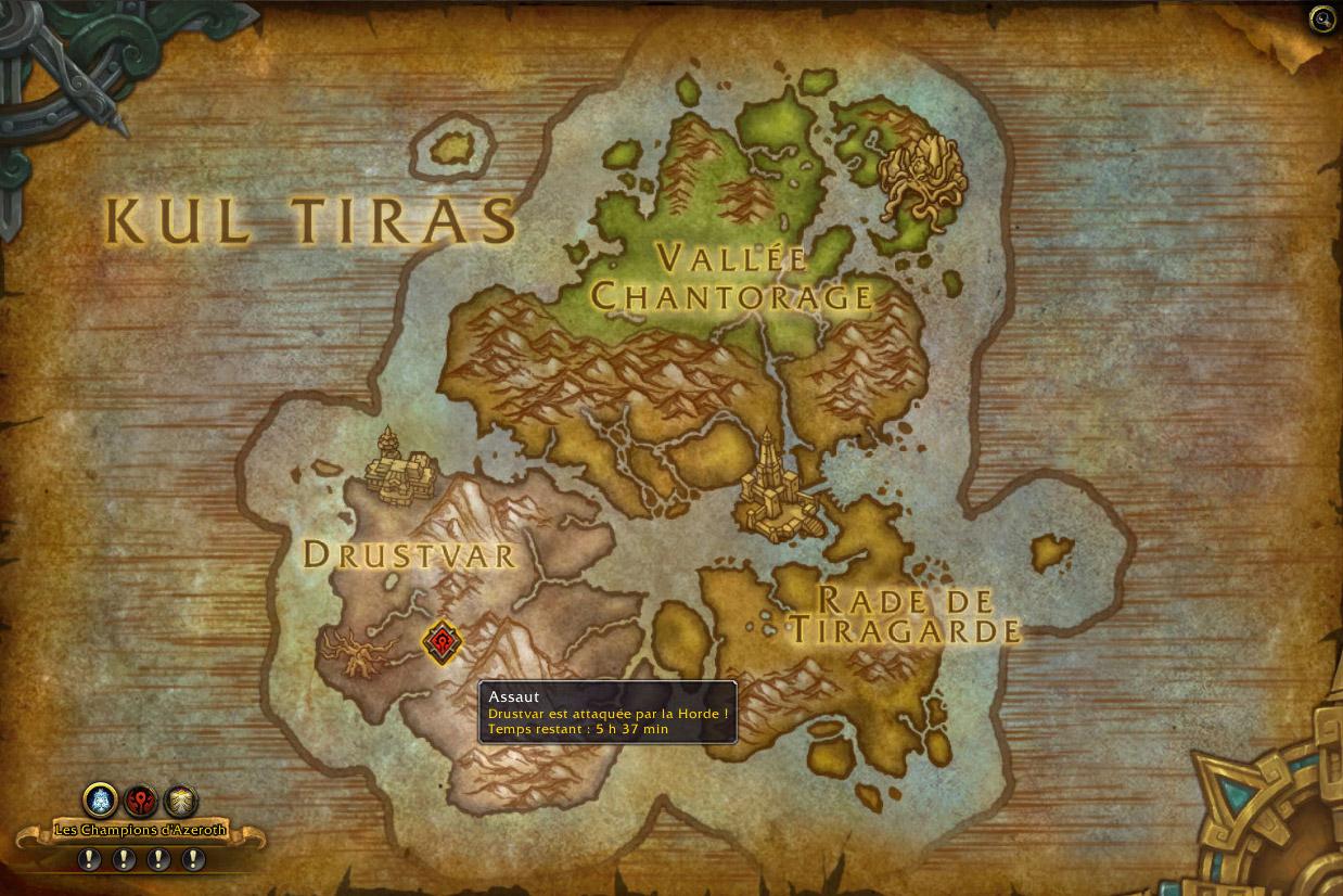 Vous pouvez trouver les assauts en cours sur votre carte du monde