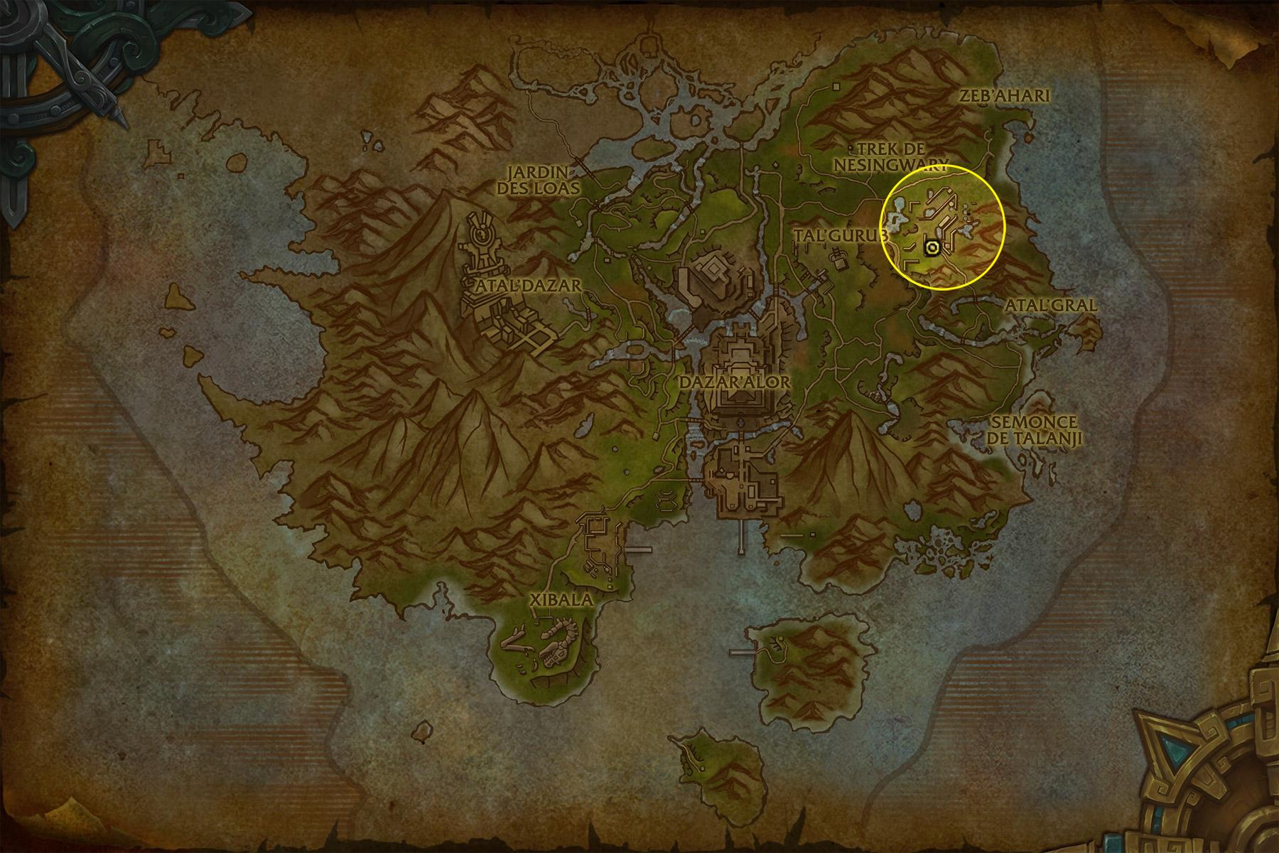 L'expédition se situe à l'Est de Zuldazar