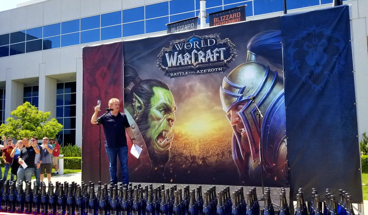 Mike Morhaime à Irvine lors de la fête célébrant l'extension Battle for Azeroth