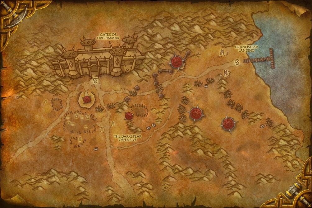 Map du Siège d'Orgrimmar appelée « Front de guerre de Durotar »