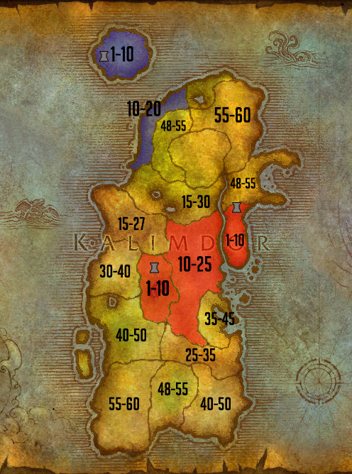 Carte de leveling Kalimdor