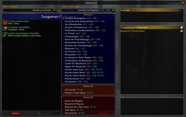 Fenêtre de recherche d'Atlas Loot