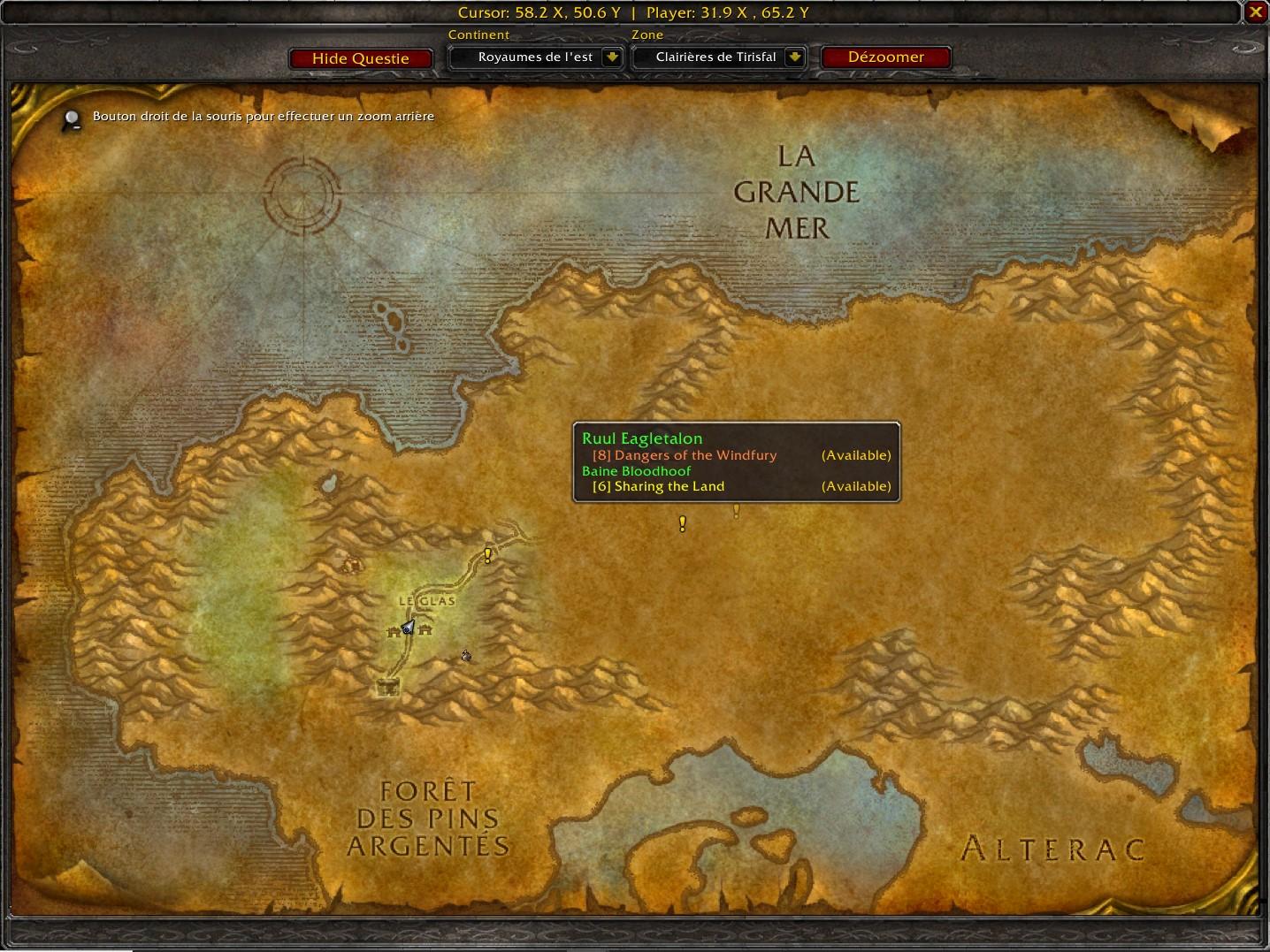 Affichage des quêtes à récupérer par Questie sur la carte