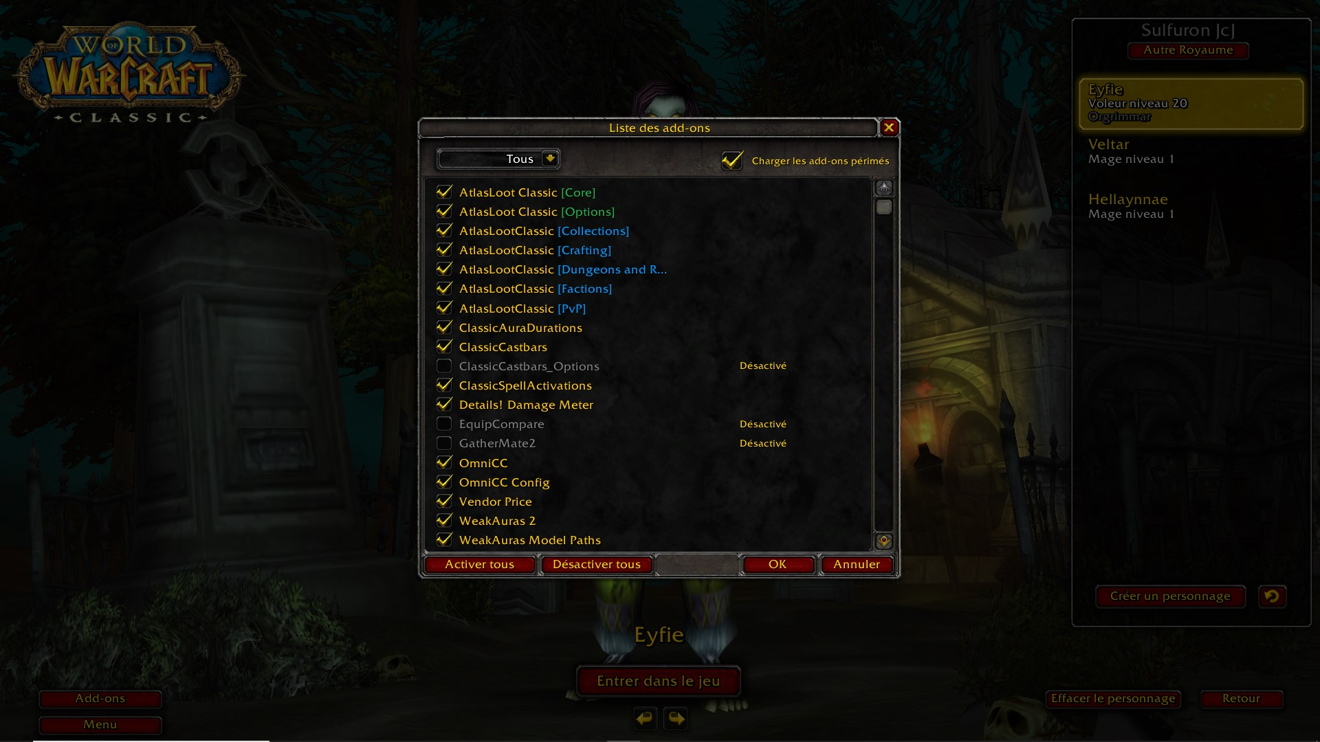 Interface d'Addon WoW Classic