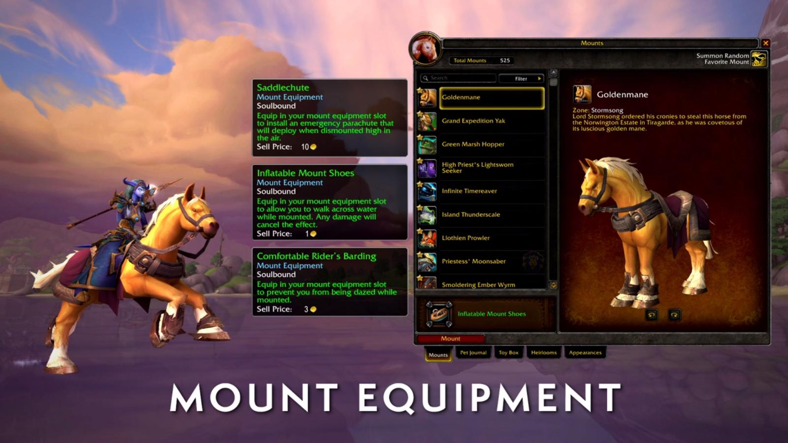 Un nouvel emplacement d'équipement permet de conférer un bonus à toutes vos montures au patch 8.2
