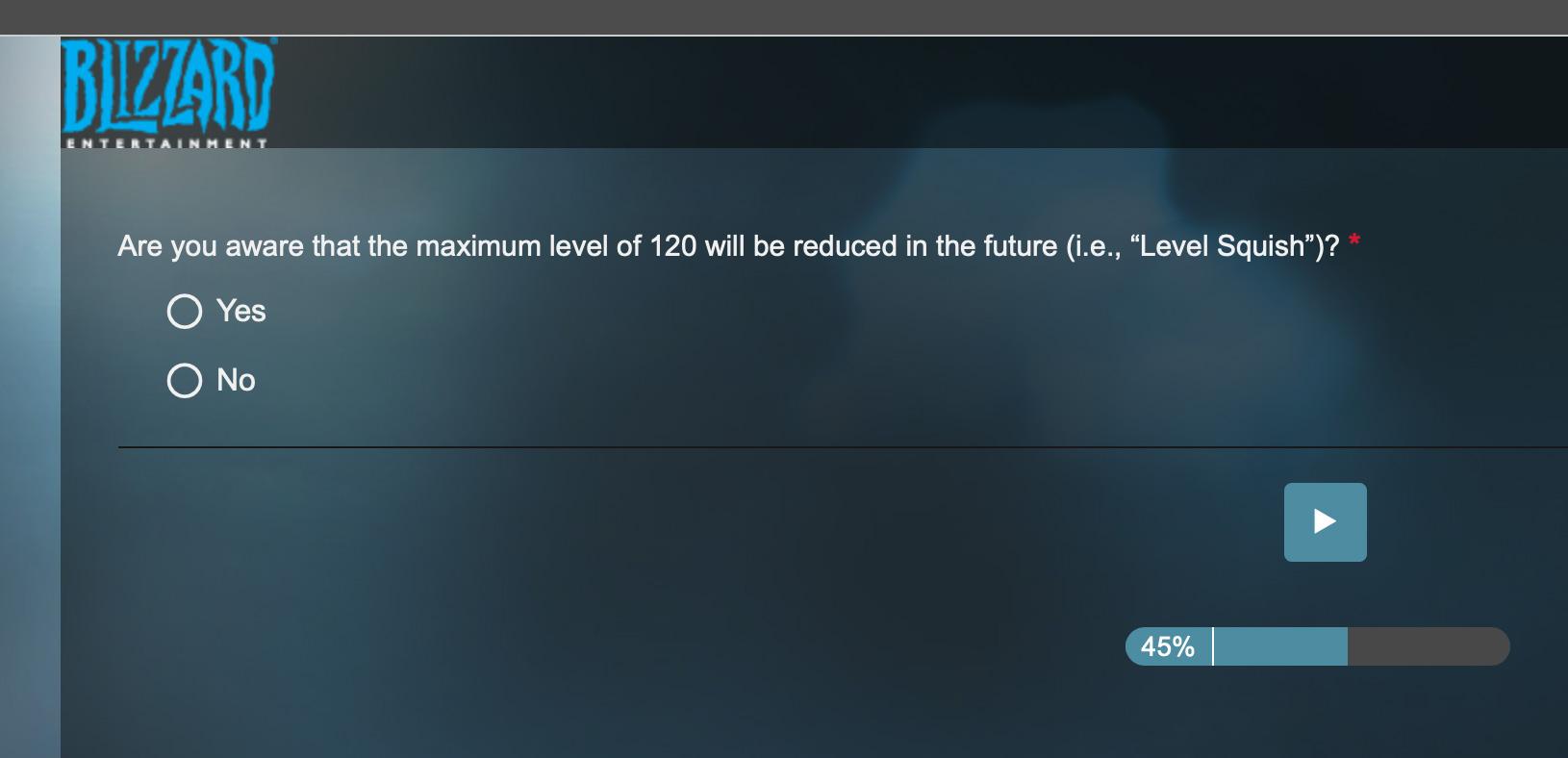 Questionnaire de Blizzard envoyé aux joueurs concernant le niveau maximum