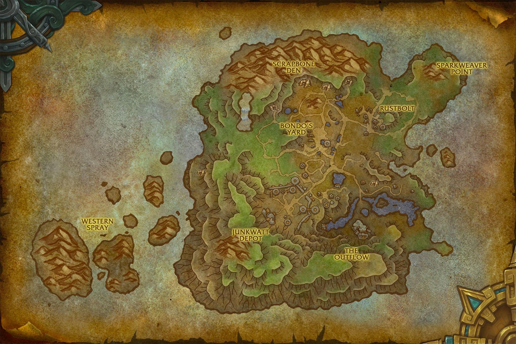 Carte de la zone de Mécagone au patch 8.2