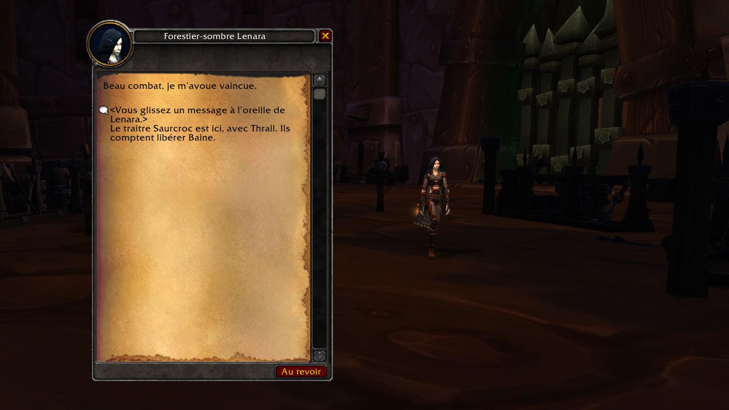 Informez Lenara de la venue de Saurcroc et Thrall