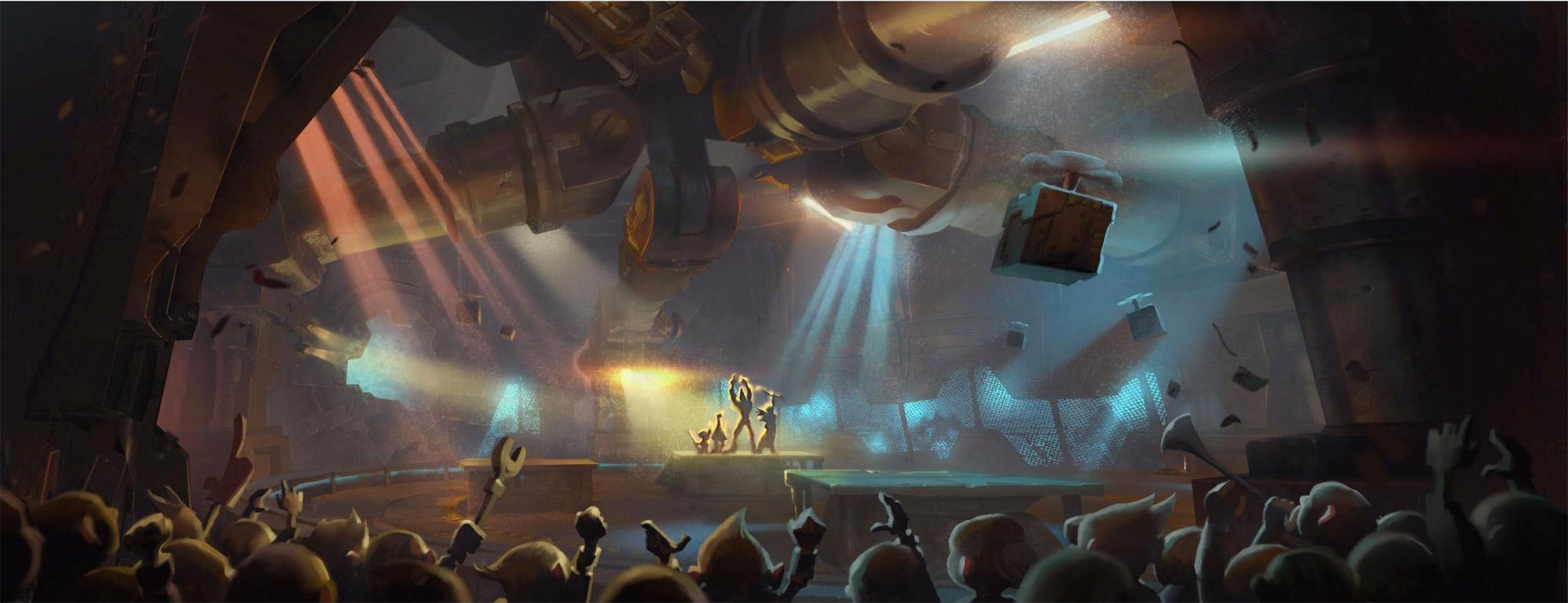 Écran de chargement de l'arène de Mécagone au patch 8.2