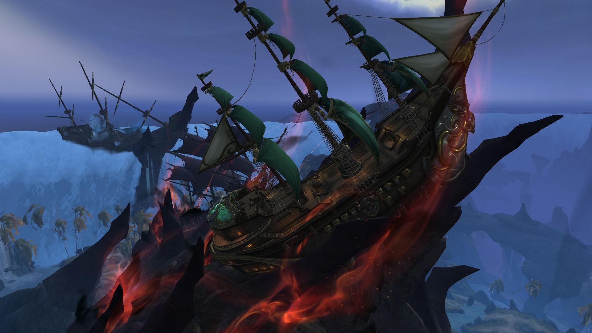 L'Alliance et la Horde ont échoués à Nazjatar, maintenue en dehors des flots grâce à la Pierre-des-Marées
