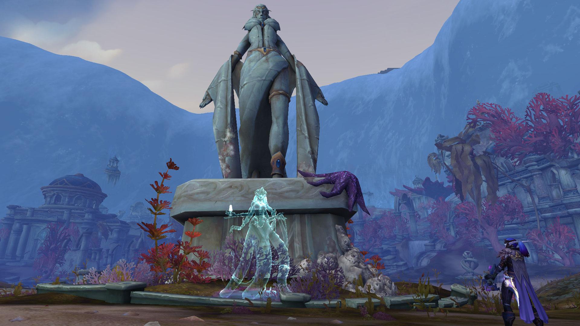 Image de la reine Azshara devant sa statue