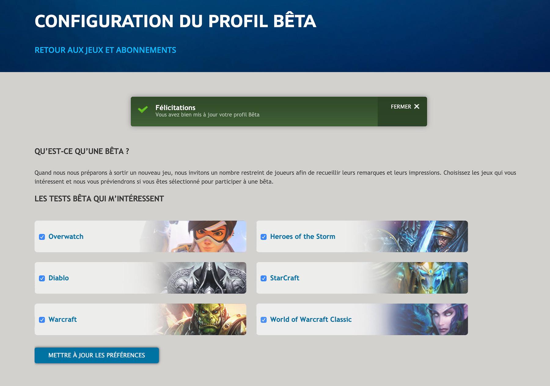 Sélectionnez World of Warcraft Classic