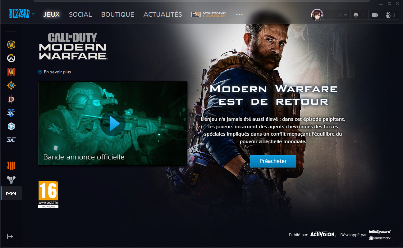 Le launcher Battle.net accueille Call of Duty : Modern Warfare