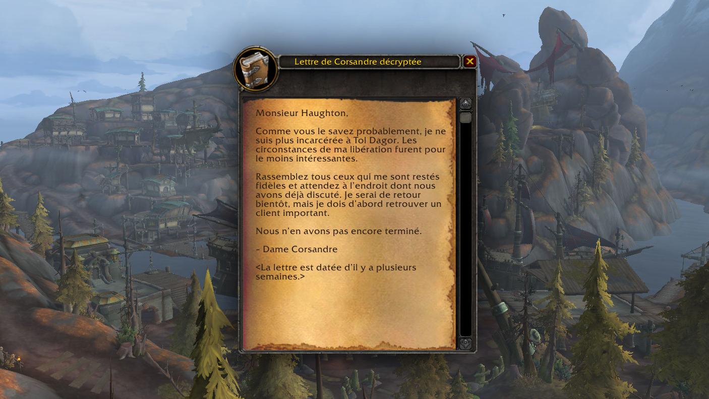 Lettre de dame Corsandre décryptée